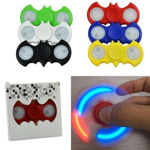FLASHING LED BAT SHAPED FIDGET SPINNER ASSORTED COLORS (1 PIECE)