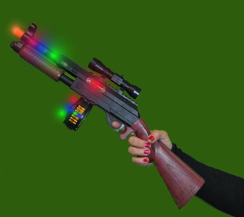FLASHING RIFLE STYLE GUN WITH LIGHTS AND SOUND (1 PIECE)