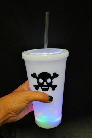 FLASHING PLASTIC CUP WITH PLASTIC LID AND STRAW AND SKULL BONE PRINT (1 PIECE)