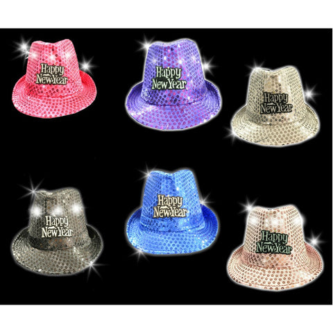 Happy New Year Flashing Fedora Hats - Assorted Colors (1 PIECE)