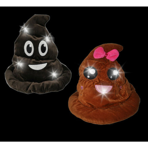 LED FLASHING PLUSH EMOJI POOP HAT (1 PIECE)