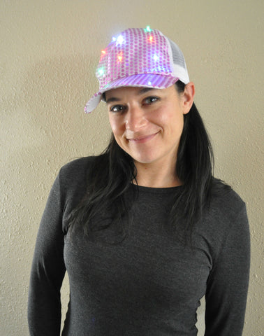 FLASHING SEQUIN TRUCKER CAP MESH ADJUSTABLE BACK ASSORTED COLORS (1 PIECE)