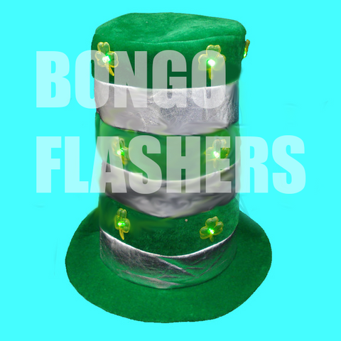 FLASHING ST. PATRICK'S DAY DAY BANDED STOVE TOP HAT (1 PIECE)