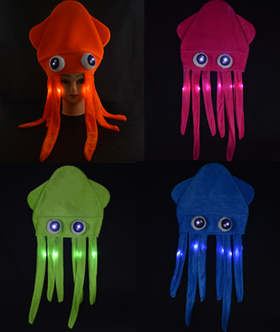 FLASHING SQUID HAT ASSORTED COLORS (1 PIECE)