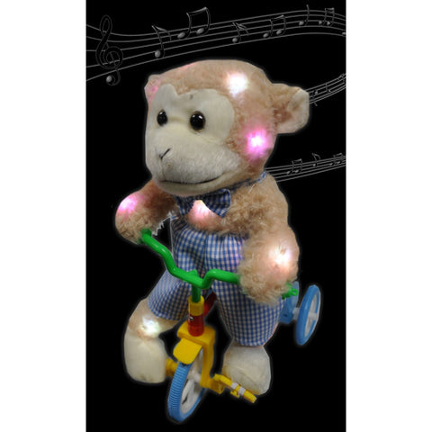 "Assorted Style 13"" Musical LED Plush Bear on Bike"