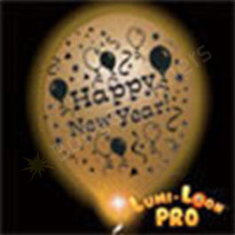 Gold New Years Balloons w/ White LED - 10 Pack