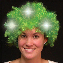 Green Light Up Spirit Wig