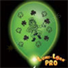 Green Shamrock balloons w/Green LEDs - 10 Pack