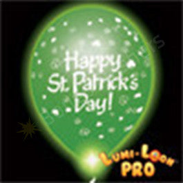 Green St. Patrick's day balloons w/ green LEDs- 10 Pack