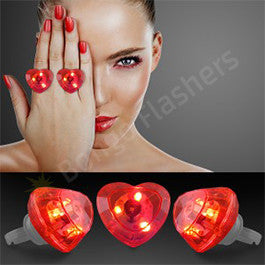 Huge Gem Flashing Heart Rings