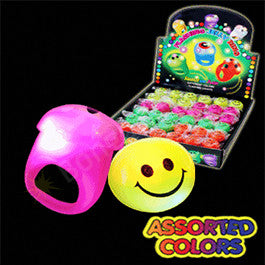 LED Jelly Smiley Face Ring Assorted Colors