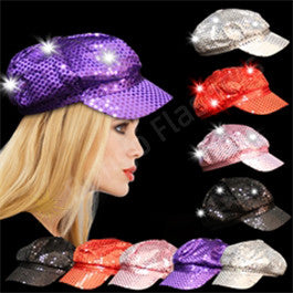 LED Sequin Newsboy Cap