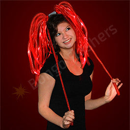 LIGHT UP HAIR NOODLES HEADBAND - BRIGHT RED