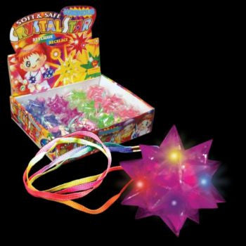 Flashing Crystal Star LED Necklace - 12 Pack