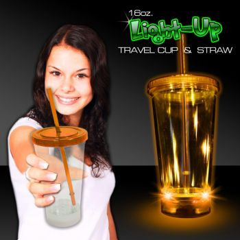 Light Up Travel Cup with Orange Lid and Straw – 16 Ounce