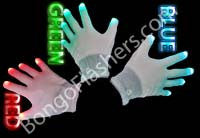 Light Up Gloves - White Solid Color (One Pair)