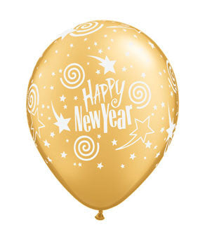 New Year's Swirling Stars Balloons- Gold