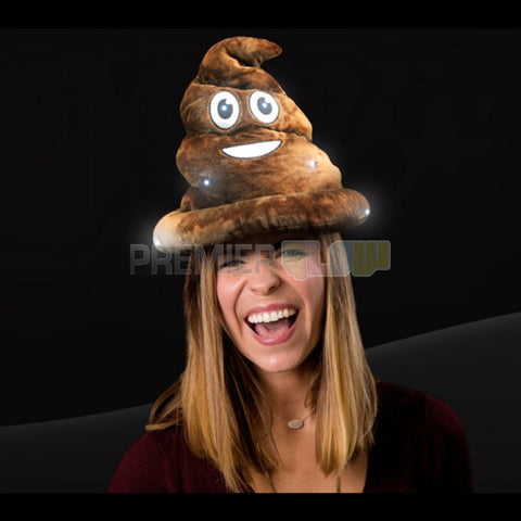 LED Emoticon Poop Swirl Hat (Plush) - 6 LED