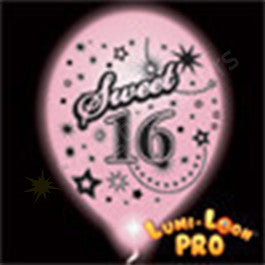 Pink Sweet 16 Birthday Balloons w/ White LED - 10 Pack