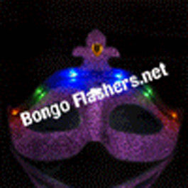 Purple Flashing Mardi Gras Face Mask