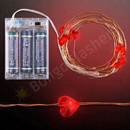 "76"" RED LED HEART STRING LIGHTS, BATTERY OPERATED"