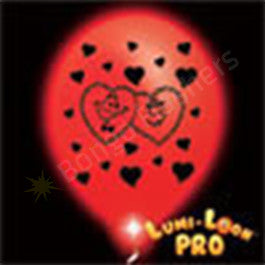 Red Hearts balloons w/ Red LEDs - 10 Pack
