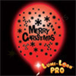 Red Merry Christmas Balloons w/ White LEDs- 10 Pack