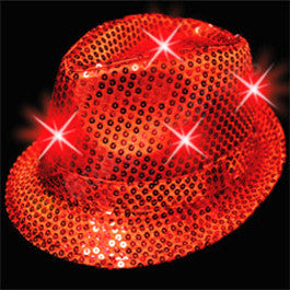Red Sequin LED Fedora