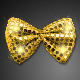 SEQUIN GOLD BOW TIE WITH AMBER LEDS