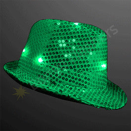 SEQUIN GREEN FEDORA HATS WITH BLINKING LEDS