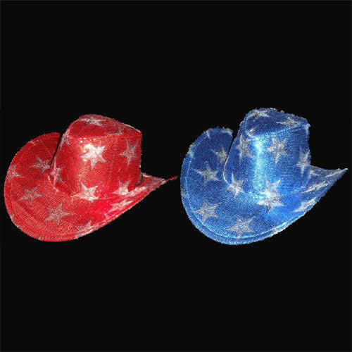 cd4c3601fd113 Sequin Star Cowboy Hat - Red   Blue Assorted – Bongo Flashers