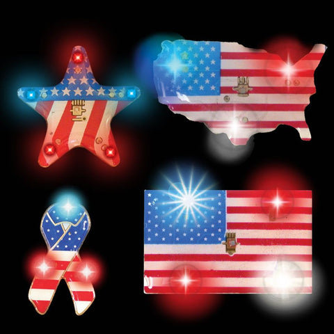 LED Patriotic Assortment Blinky (12 Pack)