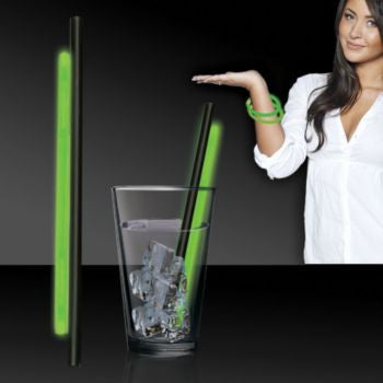 "Green 9"" Glow Straw - 25 Per Pack"