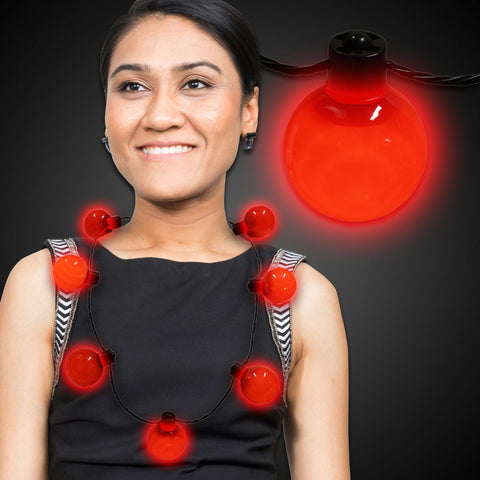 LED Ball Necklace - Red