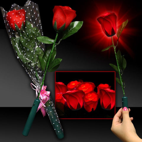 Red LED and Light-Up Silk Roses - 12/Pack