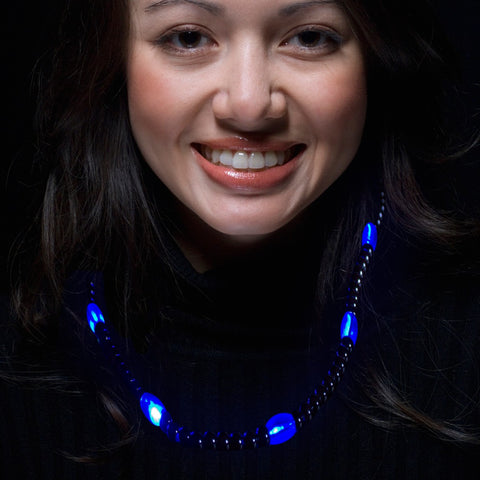 Blue LED Beaded Necklace