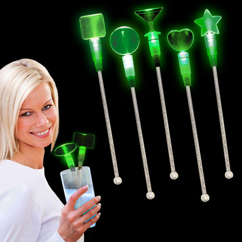 Green LED Heart Cocktail Stir Sticks