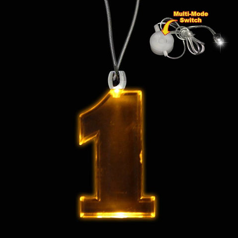 Amber LED and Light-Up #1 Necklace