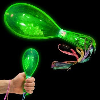 "Green LED 6"" Maracas - 12 Pack"