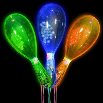 "Assorted Color LED 6"" Maracas - 12 Pack"