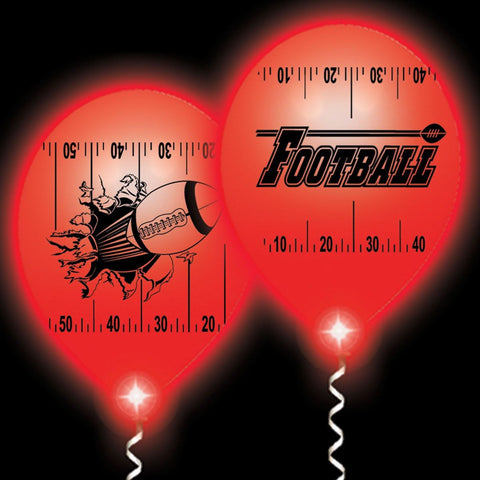 Football Yardline White Balloons Red Lights - 10 Pack