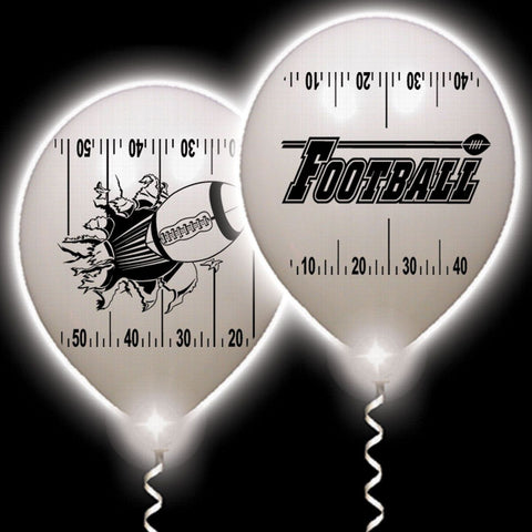 Football Yardline White Balloons White Lights - 10 Pack