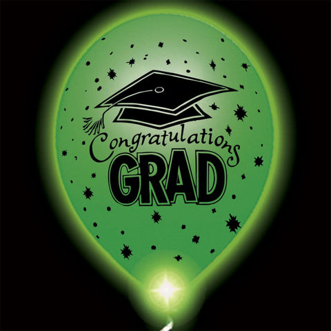 Congratulations Grad Green Lumi-Loons Balloon Lights - 10 Pack