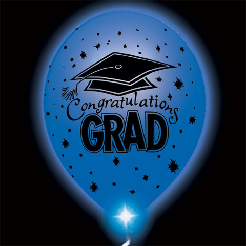 Congratulations Grad Blue Lumi-Loons Balloon Lights - 10 Pack