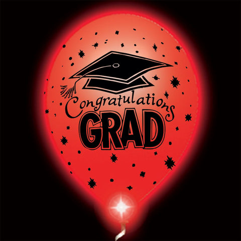 Congratulations Grad Red Lumi-Loons Balloon Lights - 10 Pack