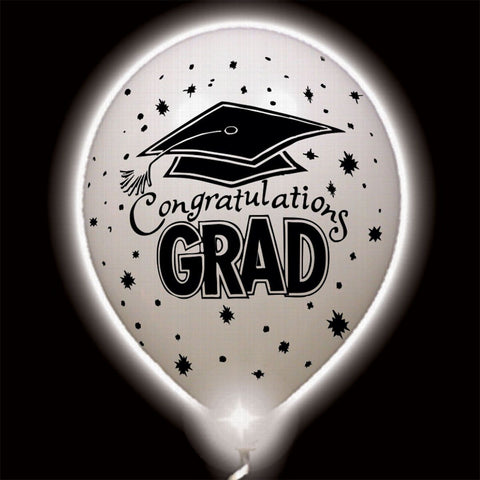 Congratulations Grad White Lumi-Loons Balloon Lights - 10 Pack