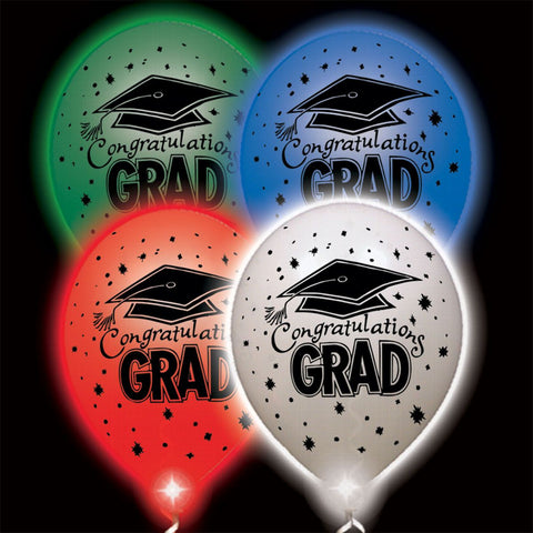 Congratulations Grad Assorted Colors Lumi-Loons Balloon Lights - 10 Pack