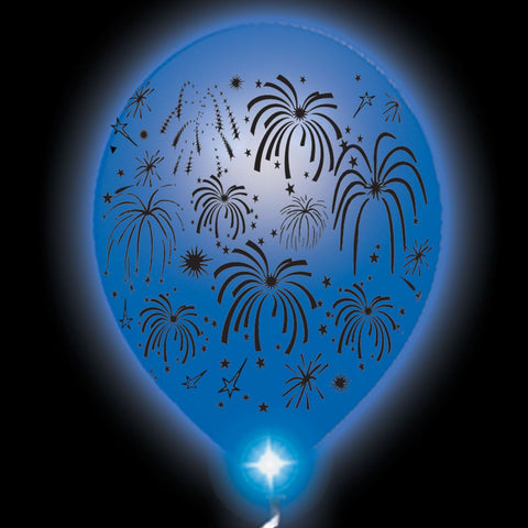 Fireworks Lumi-Loons White Balloons Blue Lights - 10 Pack