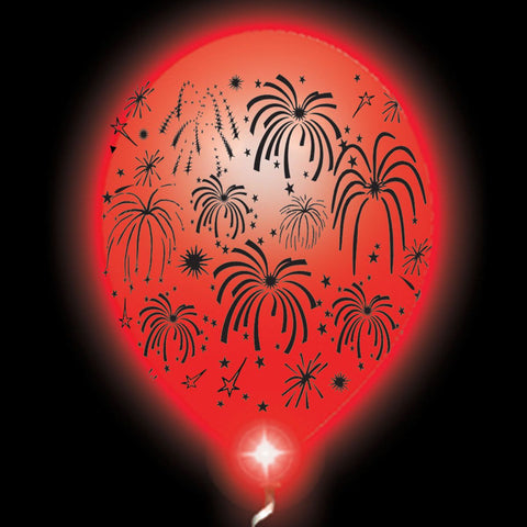 Fireworks Lumi-Loons White Balloons Red Lights - 10 Pack