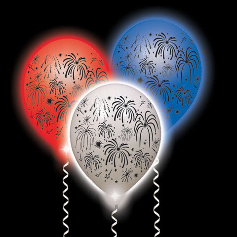 Fireworks Lumi-Loons (white with Red, White or Blue LEDs) - 10 Pack